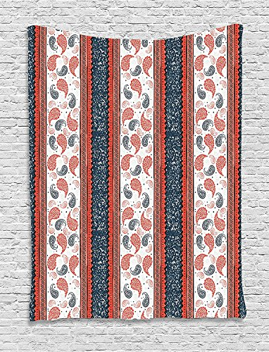 African Slate - Modern Decor Tapestry, Ethnic African Tribe Style Borders and Indian Paisley Image, Wall Hanging for Bedroom Living Room Dorm, 40WX60L Inches, Dark Slate Blue White and Red