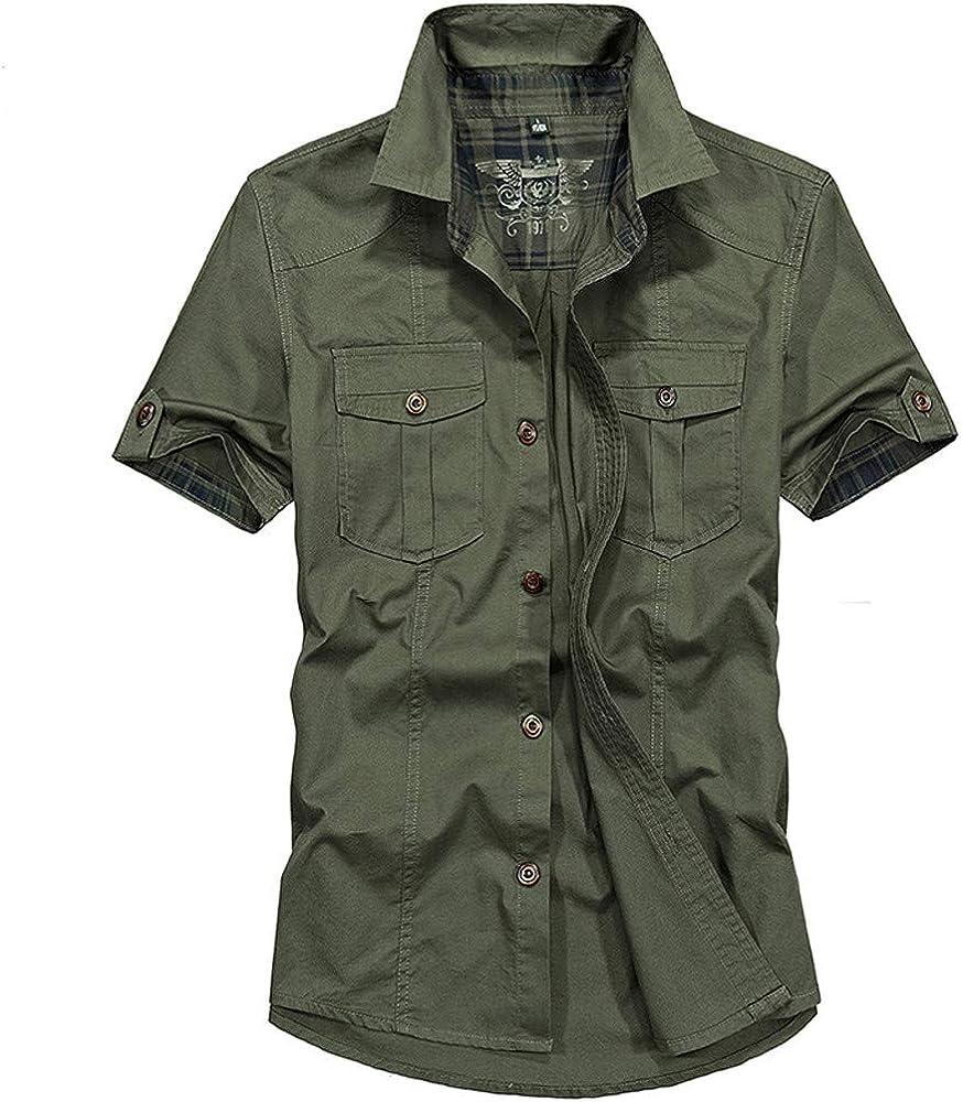 Camisas de Hombre T Shirt tee Moda Blusa de Manga Corta la Camiseta Bolsillo Color Puro Militar en Liso Casual La Solapa(Verde M: Amazon.es: Ropa y accesorios