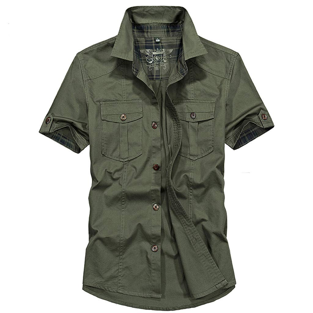 Mysky Summer Men Cool Pure Color Pocket Military Work Tee Shirt Blouse Male Casual Short Sleeve Lapel Collar Tops Green