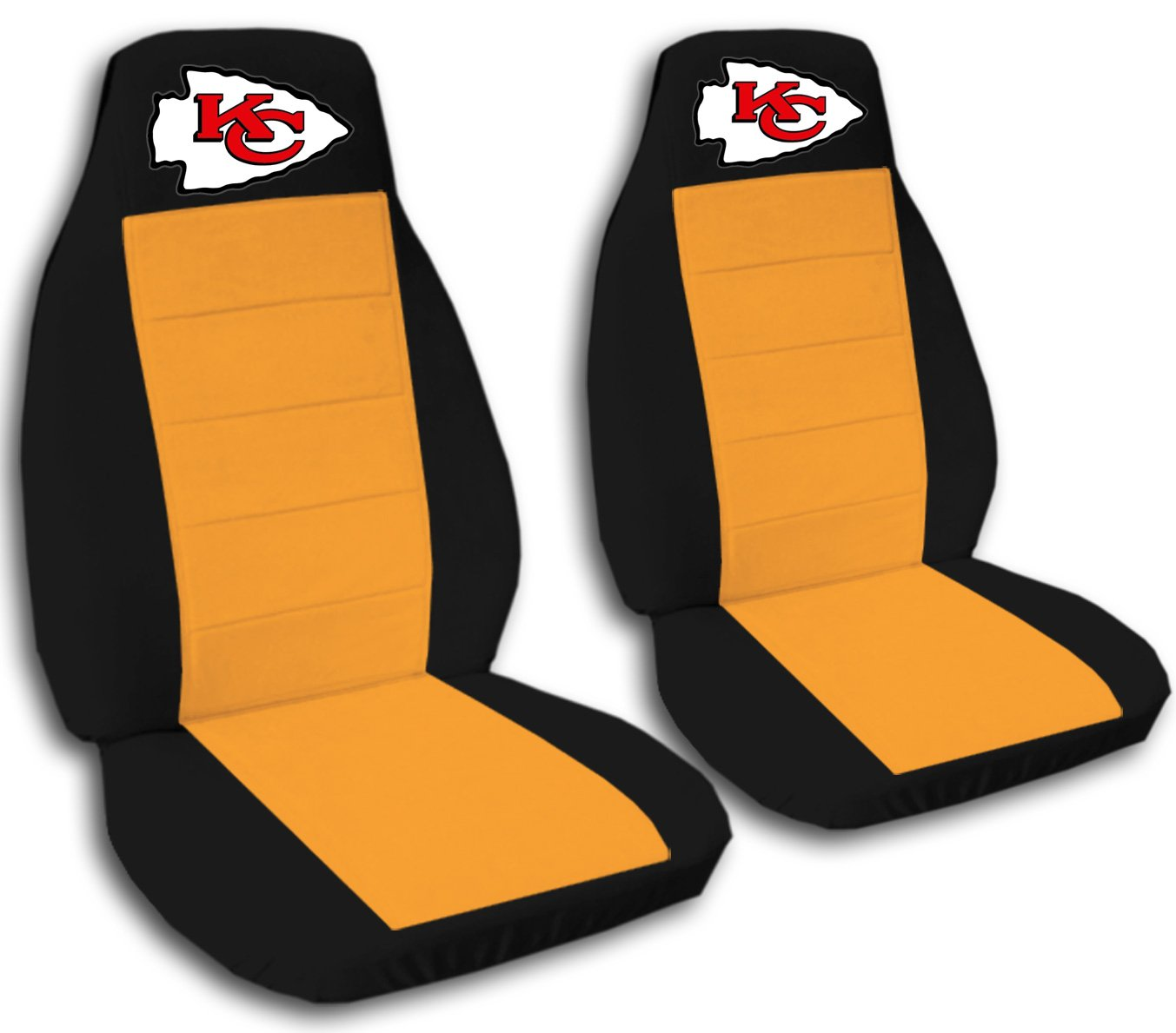 2 Black and Orange Kansas City seat covers for a 2007 to 2012 Chevrolet Silverado. Side airbag friendly.
