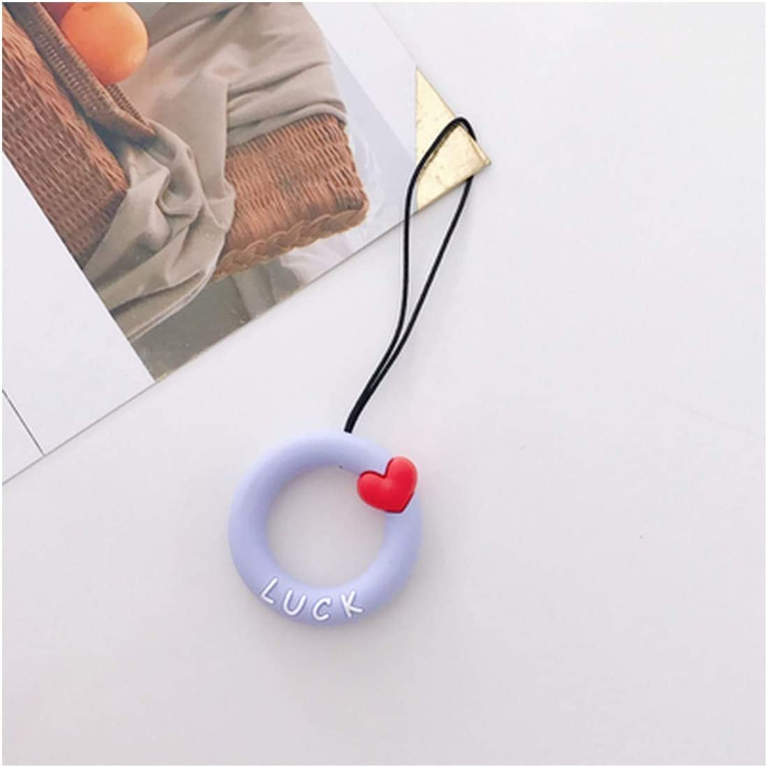 Mobile Phone Straps Lovely Love Cute Pink Ring and Rope Id Phonek Straps with Keyring for for Keys ID Card,Pink