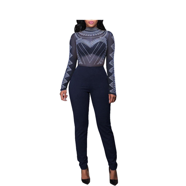 Bodycon Women Long Mesh Bodysuit Black Turtleneck Jumpsuitsed Dark Blue S