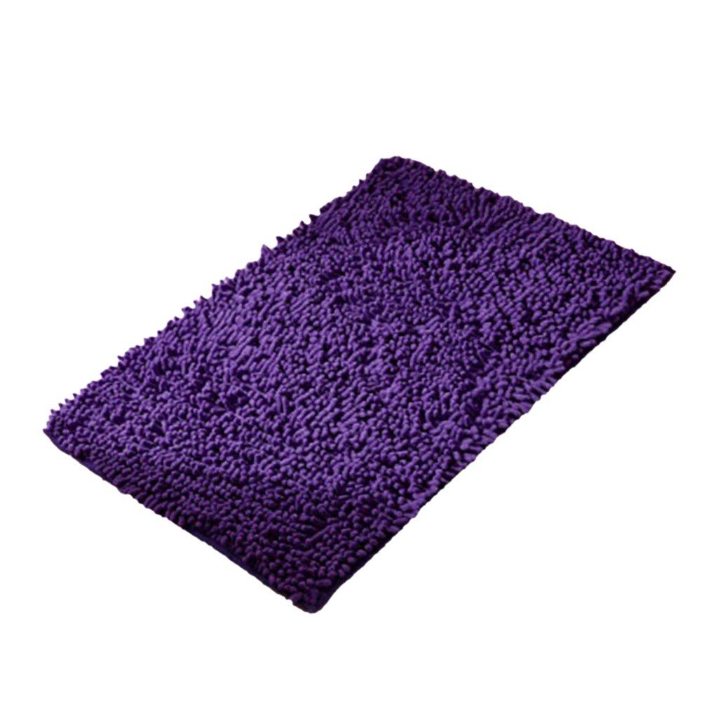Baoblaze Non-slip Bath Mat Chenille Bathroom Rug Machine-washable Anti-slip Shower Carpet Water Absorbent Soft Microfibers - Purple, 60x90cm