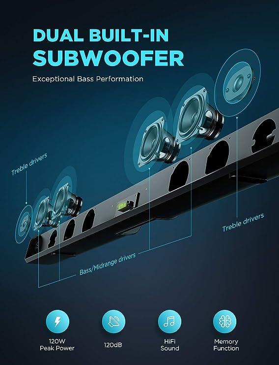 Bomaker Barre de Son Barre de Son TV 2.0 Bluetooth 5.0 3D Surround St/ér/éo avec HDMI-Arc AUX Optique USB pour Smart TV 4K et HD 100W