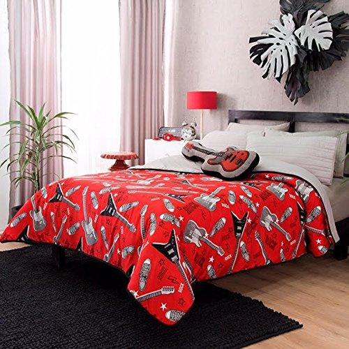 best NEW PRETTY COLLECTION ROCK AND ROLL TEENS BOYS REVERSIBLE LIGHT COMFORTER SET 2 PCS TWIN SIZE