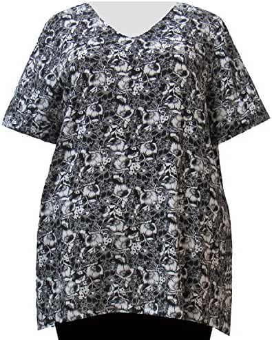 A Personal Touch Black & White Floral Garden Women's Plus Size Top
