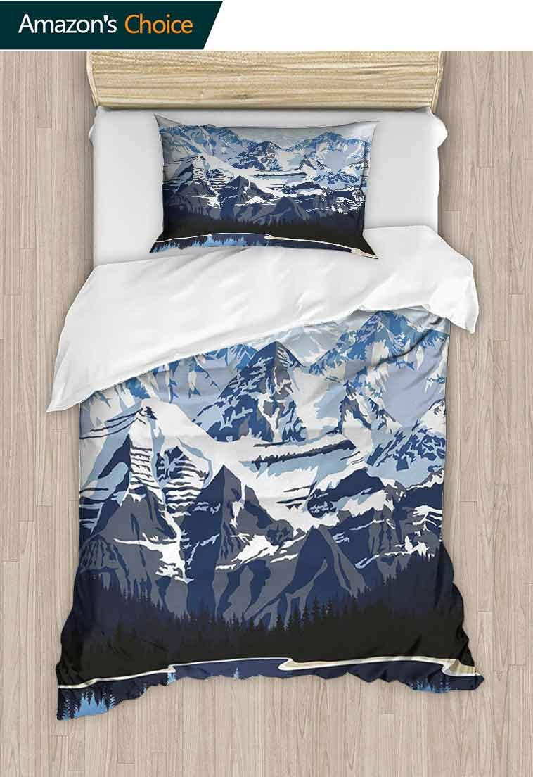 carmaxshome Scenery Printed Duvet Cover and Pillowcase Set, Cartoon Like Mountain with Snow Landscape with Lake Reflection Art, 2 Piece Bedding Quilt Coverlets - 100% Cotton Bed Quilts Coverlet