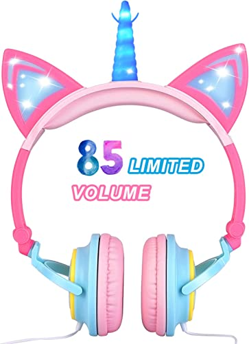 Glowing Unicorn Kids Headphones for Girls Boys – Cat Ear LED Headphones Light Up Wired Adjustable Foldable 85dB Volume Limited On Over-Ear Headphone for Game Travel Headset School Birthday Gift, Pink