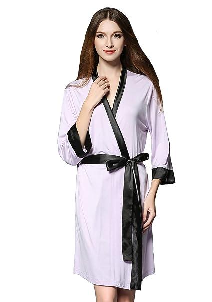 TieNew Mujer Sexy Kimono Algodón Camisón con Cinturón 3/4 Mangas Casa Pijama Corto Ropa