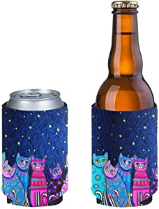 JoyLamoria 2 Pack Cat Print Beer Can Sleeve Thermal Insulated Can Beverage Coolers Covers Perfect for 12oz,Ice Coffee, Energy Drink, Beer