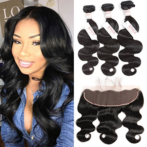 Grace Plus Hair Brazilian Body Wave 3 Bundles with Frontal Ear to Ear Lace Frontal Closure with Bundles Brazilian Hair with Closure Human Hair Extensions Lace Frontal with Baby Hair (16 18 20+16)