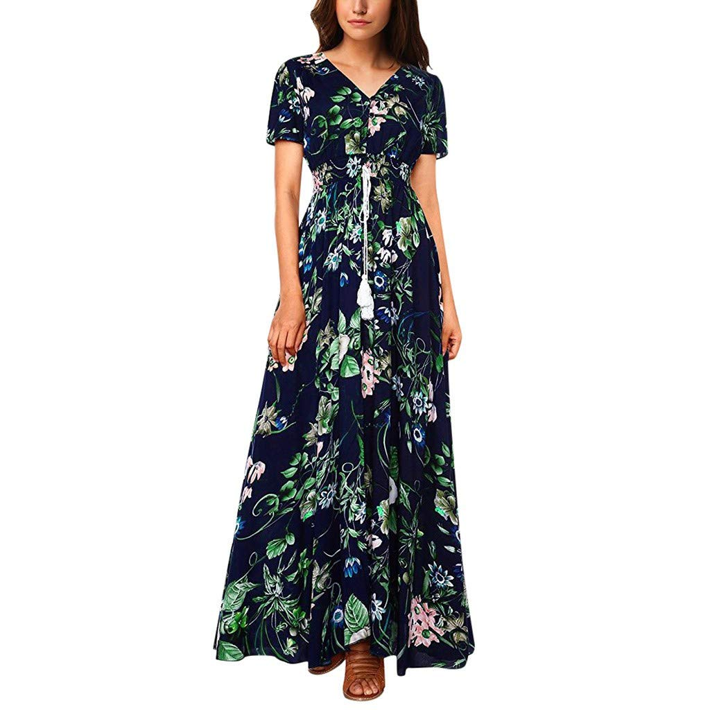 Gocheaper Women's Floral Printed Button Up Short Sleeve Split Flowy Party Long Dress(Blue,S=US: 4)