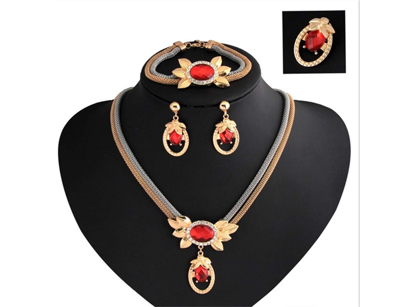 Yuchoi Girl Jewelry Retro Clavicle Necklace Earrings Necklace