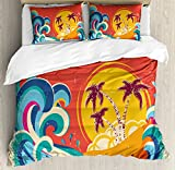 Vintage Hawaii Duvet Cover Set Queen Size by Lunarable, Vintage Old Paper Style Tropical Island with Giant Waves Retro Background, Decorative 3 Piece Bedding Set with 2 Pillow Shams, Multicolor