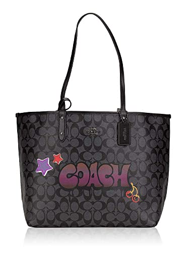 fce83e5273bc Amazon.com  Coach F31500 Signature Graffiti Rev City Black Smoke Multi Tote   Shoes