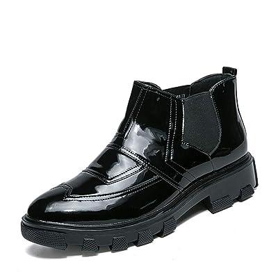 39bb2d56518d1 2018 Chaussures Richelieu en Cuir Verni à Semelle compensée pour Homme Haut  de Gamme Oxford pour ...