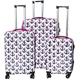 3 Piece Coastal Captains Anchor Design Hardshell Rolling Spinner Luggage Suitcases, Graphic Nautical Stuff Patterned, Expandable, Multi Compartment, Hardside Locking Handle Travel Cases, Pink, Ivory