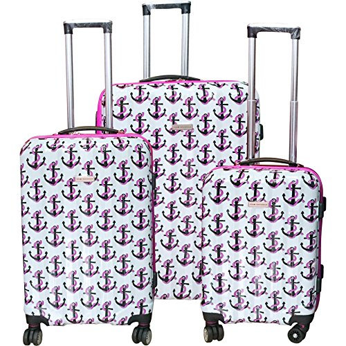 3 Piece Coastal Captains Anchor Design Hardshell Rolling Spinner Luggage Suitcases, Graphic Nautical Stuff Patterned, Expandable, Multi Compartment, Hardside Locking Handle Travel Cases, Pink, Ivory by S & E
