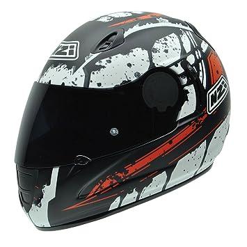NZI 010264G726 Premium S Graphics SV Blocks Casco de Moto, Blanco, Negro y Rojo