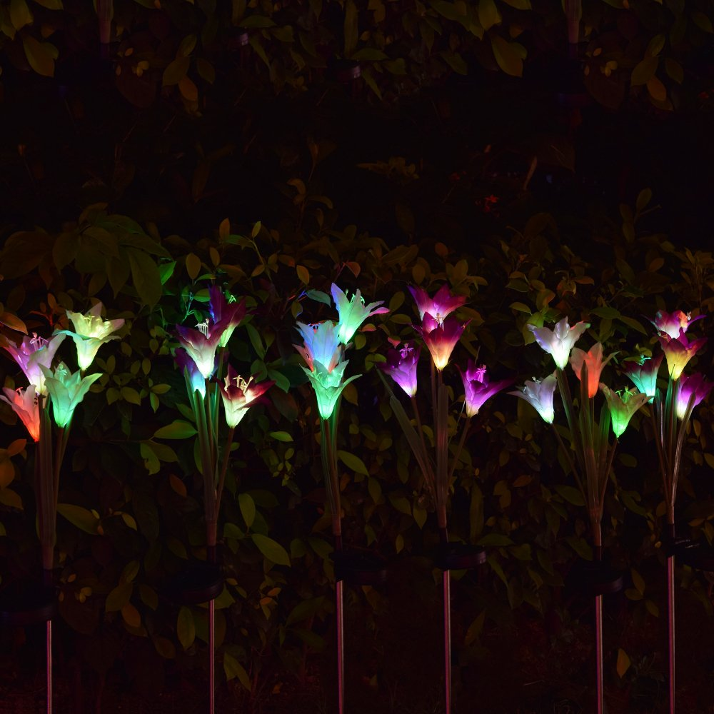 Outdoor Solar Garden Stake Lights - 2 Pack Solarmart Solar Powered Lights with 8 Lily Flower, Multi-color Changing LED Solar Stake Lights for Garden, Patio, Backyard (Purple and White) by Solarmart (Image #6)