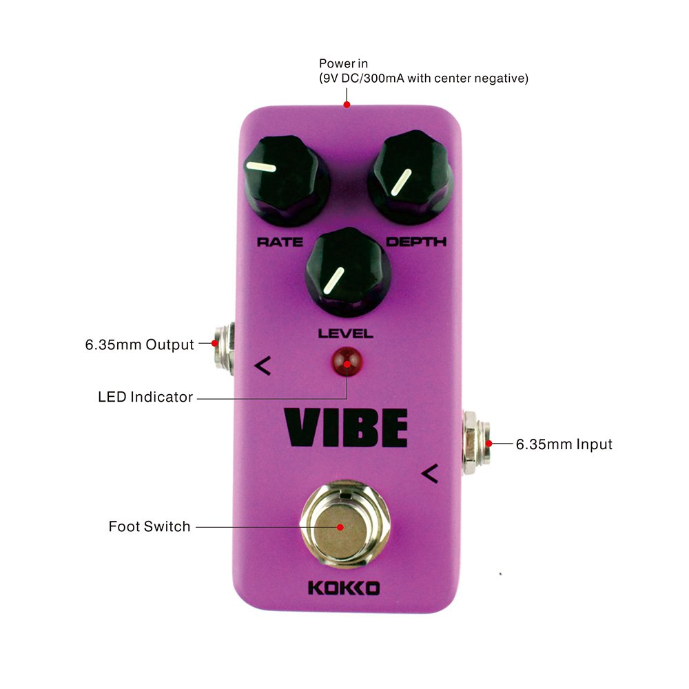 Guitar Mini Effects Pedal Vibe - Analog Rotary Speaker Effect Sound Processor Portable Accessory for Guitar and Bass - FUV2 by kokko