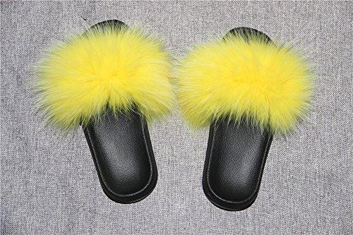 On Toe Multicolor Slip Fur Single Real Yellow Sandals Strap Open Feather Leather Women Fox Vegan PTqxZH