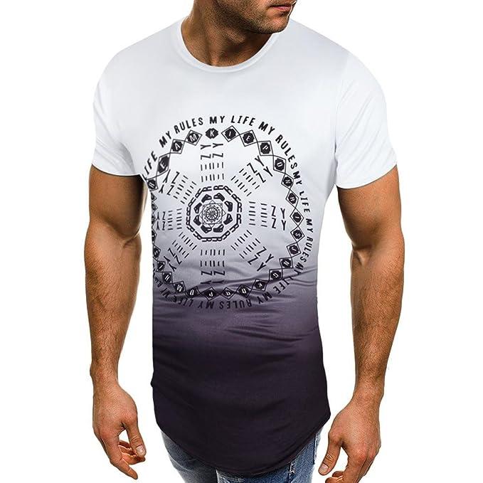 RETUROM -Camisetas Camiseta para Hombre, Manga Corta con Cuello en V para Hombre de