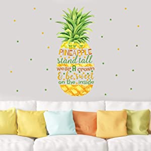 TOARTi Pineapple Quotes Wall Decals,Motivational Inspirational Saying Wall Stickers, Stars Wall Art Watercolor Fruit Vinyl Sticker for Girls Women Bedroom Dressing Room Decor