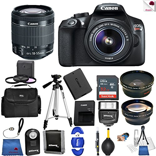 Canon EOS Rebel T6 Digital SLR Camera with 18-55mm EF-S f/3.5-5.6 IS II Lens + 58mm Wide Angle Lens + 2x Telephoto Lens + Case + 32GB SD Memory Card + UV + Tripod + Ultimate Accessory Bundle