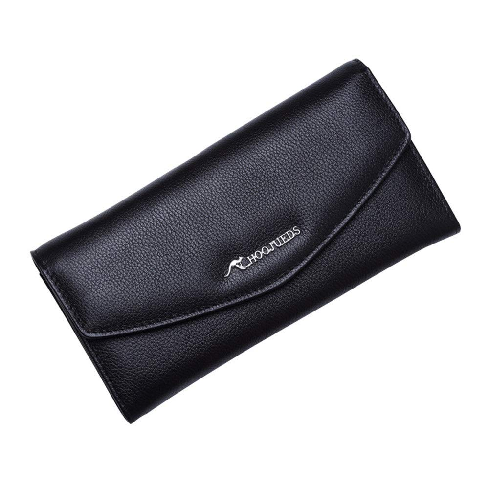 Black Women Leather Wallet Womens Wallet Genuine Leather Classic Slim Long Section Bifold Multi Card Case Wallet With Zipper Pocket Shopping Vacation Credit Card Holder Organizer Credit Card Holder Organize
