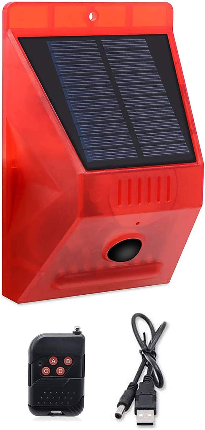 Comboss Solar Strobe Light with Remote Controller, Solar Strobe Light with Motion Detector Solar Alarm Light 129db Sound Security Siren, Protected your Home, Farm, Barn, Barn,Villa,Yard.