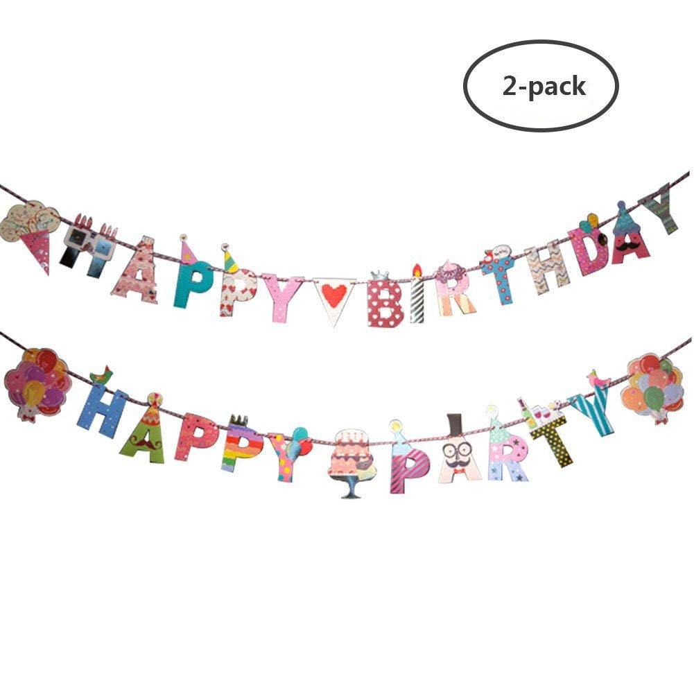 Yuccer cumpleaños Banners, Papel de Colores Bunting Banderas ...