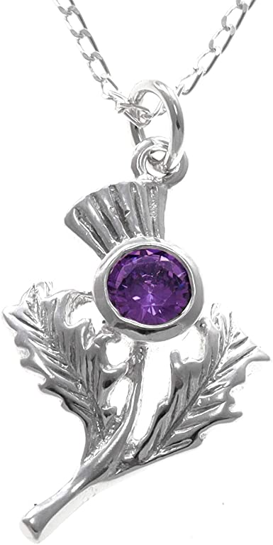 """Scottish Sterling Silver Thistle Pendant with Amethyst and 18/"""" Silver Chain"""
