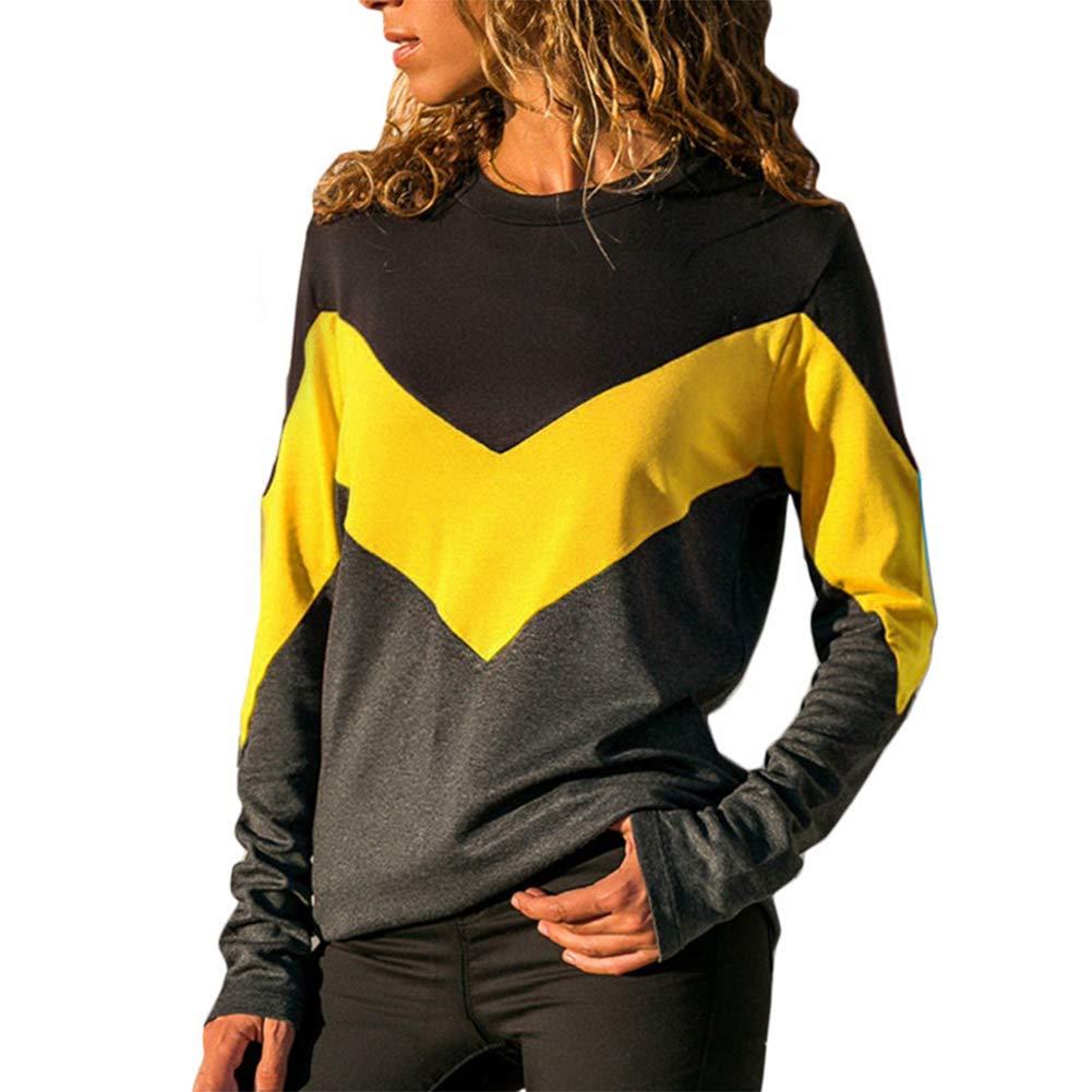 LASHER Womens Crew Neck Long Sleeve Color Block T Shirt Sweatshirt Pullover Top Blouse