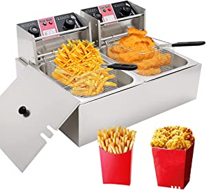 LKZAIY 20.7Qt Deep Fryer Commercial Electric Fryer with Basket, Professional Countertop Induction Oil Fish Deep Fryer With 2 x 6.35 QT Oil Tank & Timing-Temperature Control Function for Commercial and Home Use