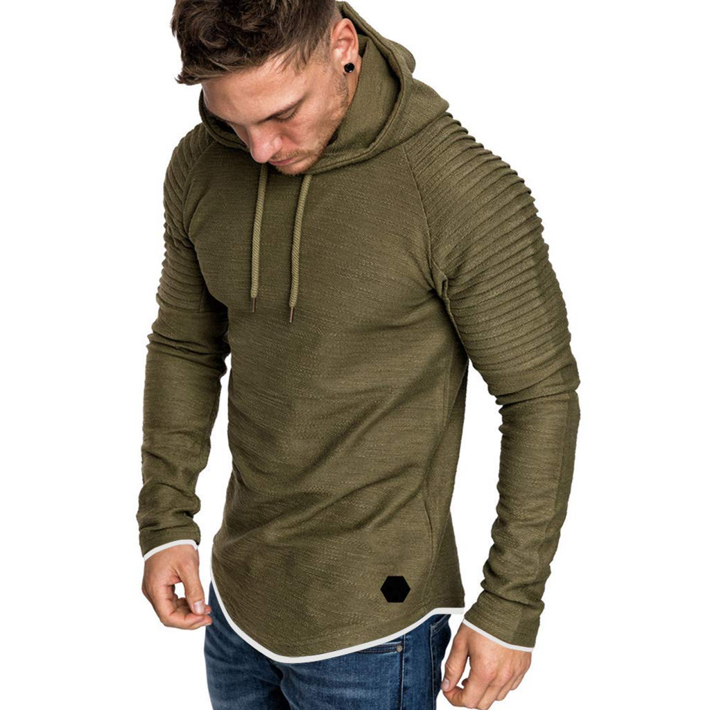 Eyiou Men's Winter Slim Fit Sweatshirt Zipper Hoodie Outwear Sweater Warm Coat Jacket (Amry Green ##, M) by Eyiou