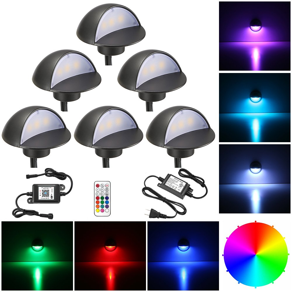 LED Deck Lighting Kits, FVTLED 6pcs WiFi Controller Φ1.97 Low Voltage LED Deck Lighting RGB Recessed Light Work with Alexa Google Home Wireless Smart Phone RGB Lamp
