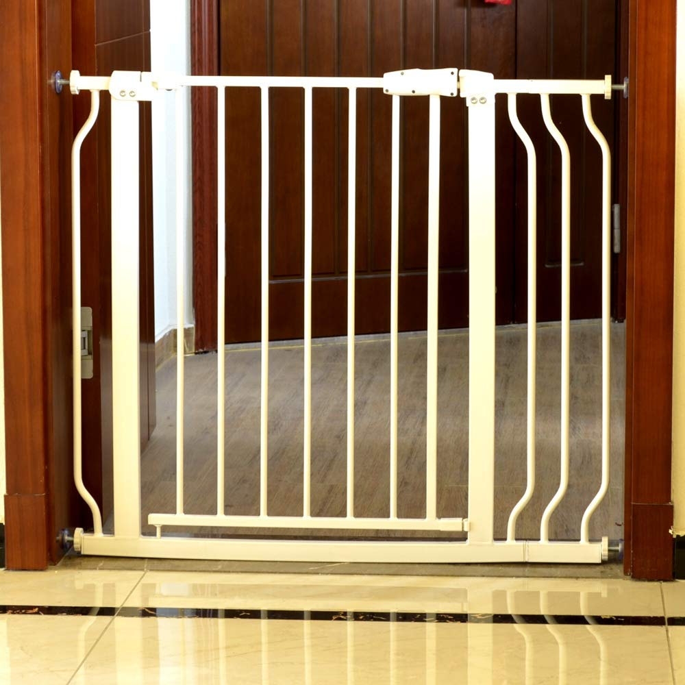 """Auto Close Pressure Mount Baby Gate 29.5""""-38"""" Wide Adjustable for Stairs Hallway and Doorway White Metal"""