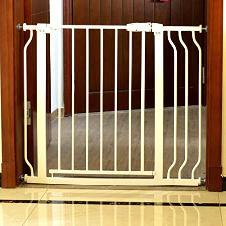 """Buy Auto Close Pressure Mount Baby Gate 29.5""""-38"""" Wide Adjustable for  Stairs Hallway and Doorway White Metal Online at Low Prices in India -  Amazon.in"""