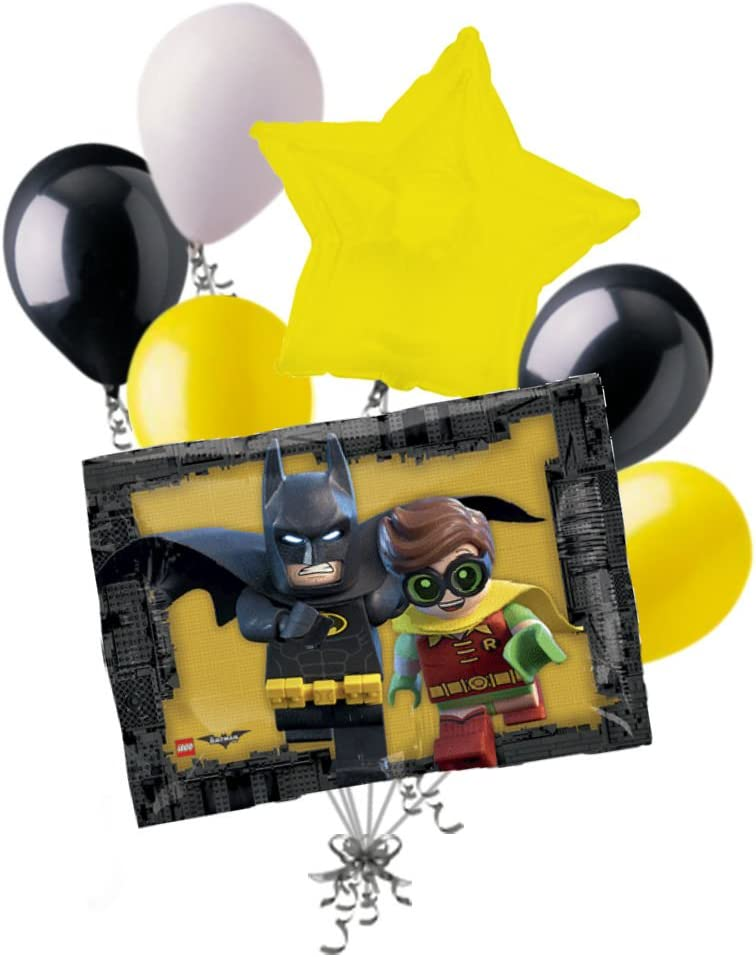 7pc Lego Batman Robin Balloon Bouquet Party Decoration Happy Birthday Super Hero
