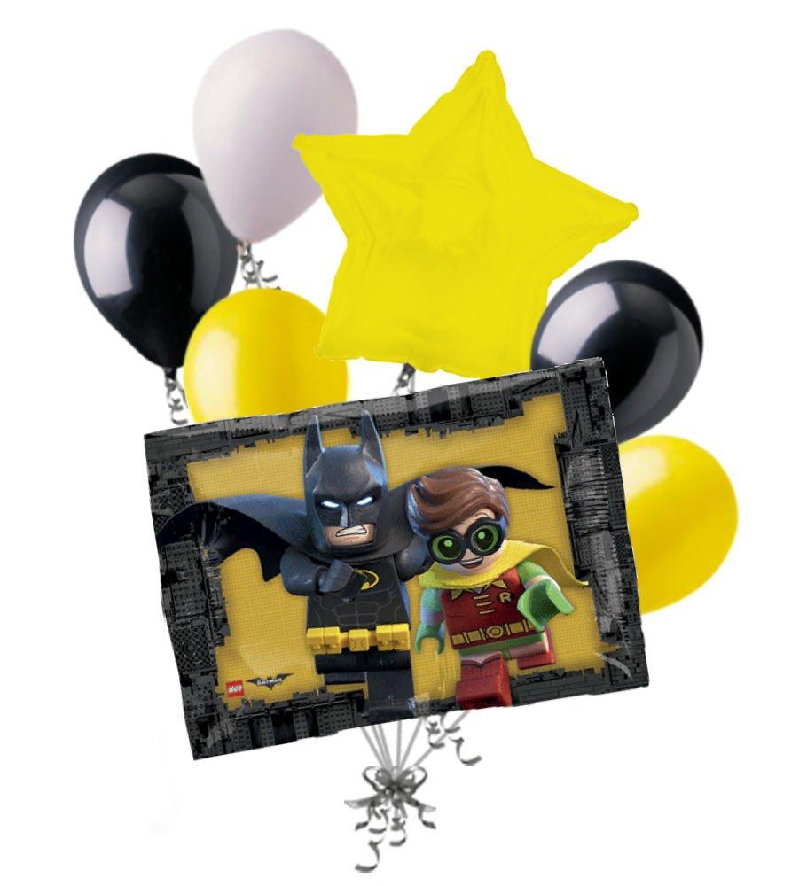 7pc Legoバットマンロビンバルーンブーケパーティー装飾Happy Birthday Super Hero   B06XF6DD6T