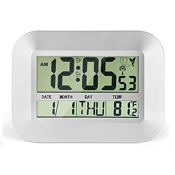"""cigera 11 """"atomic Digital reloj con dos alarmas, zonas horarias, DST tiempo"""