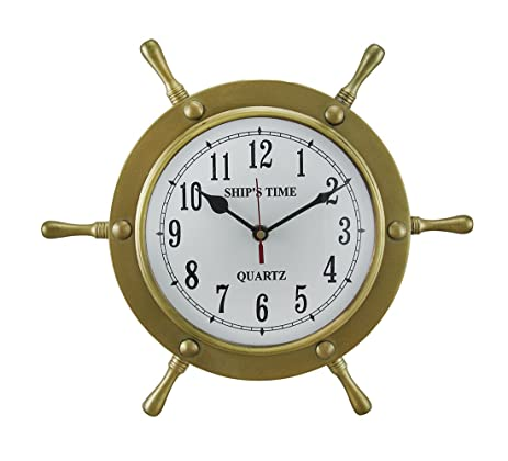 Metal Wall Clocks Polished Brass Finish Metal Ships Wheel Wall Clock 12 In.  12 X