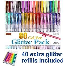 Shuttle Art 80 Colors Glitter Gel Pens, 40 Colors Glitter Gel Pen Set with 40 Refills for Adult Coloring Books Craft Doodling