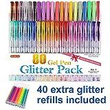 Arts & Crafts : Shuttle Art 80 Pack Glitter Gel Pens, 40 Colors Glitter Gel Pen Set with 40 Refills for Adult Coloring Books Craft Doodling