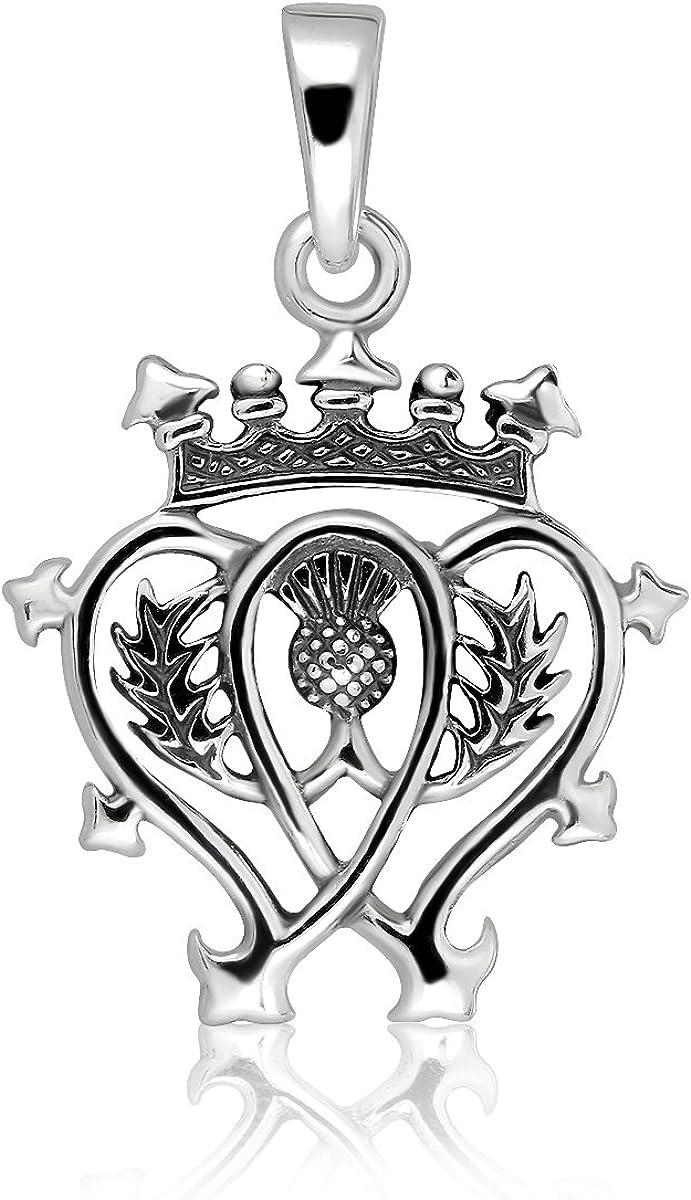 sistrakno plata de ley 925/Classic y corona cardo escoc/és Luckenbooth colgante
