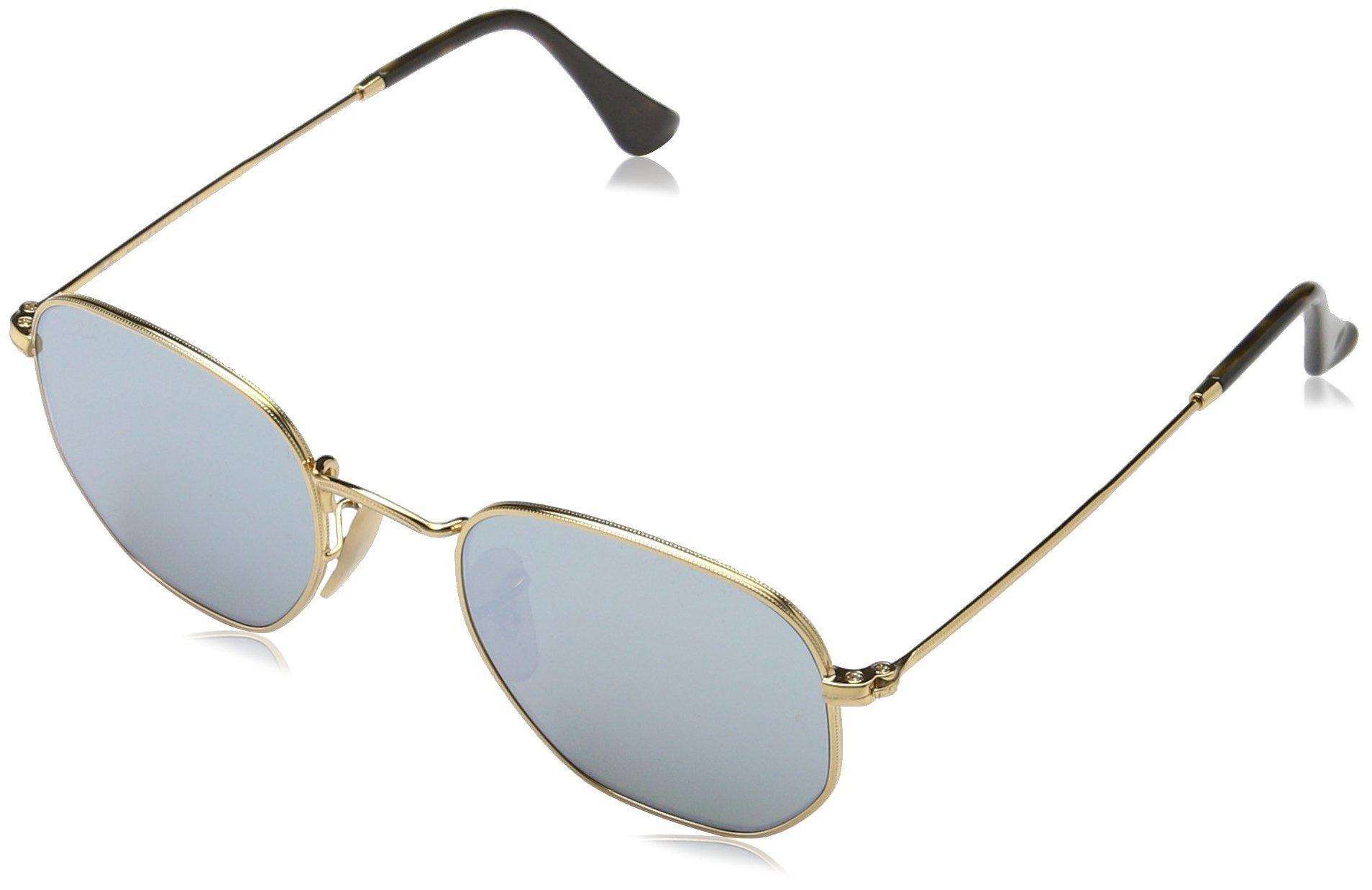 Ray-Ban Unisex RB3548N Hexagonal Sunglasses - Gold Frame Grey Flash Lenses, 48 mm
