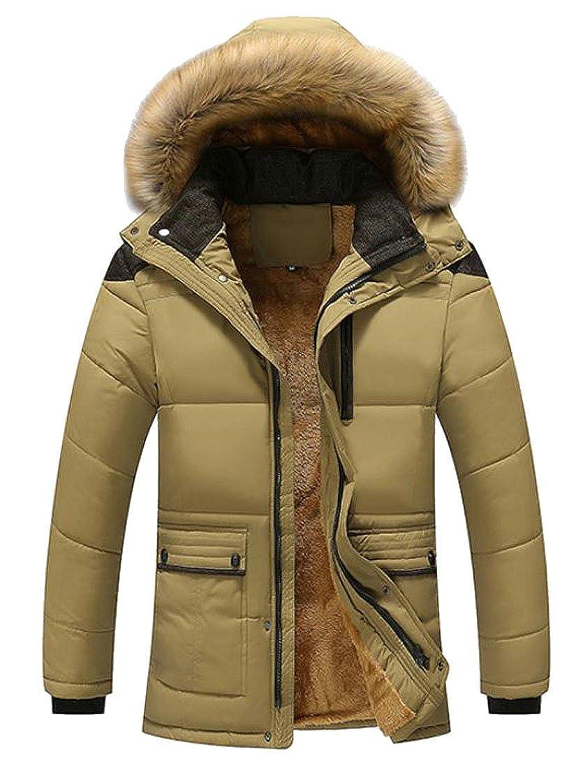 Fulok Mens Faux Fur Lined Hoodie Warm Outdoor Jacket Parka Coat