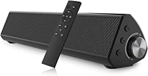 Portable Sound bar, Bestisan Soundbar Wired and Wireless Bluetooth 5.0 Speaker for TV Speakers Mini Home Theater Surround with Built-in Subwoofers Remote Control Smartphone Tablet PC Desktop Projector