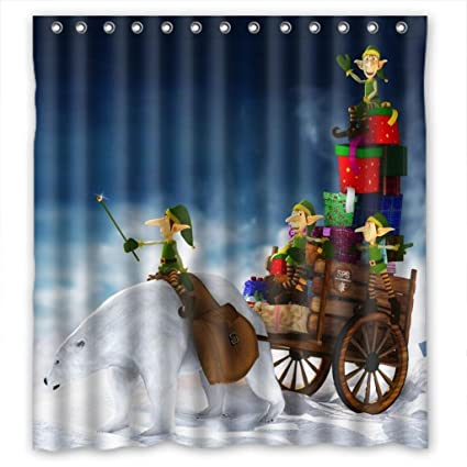 Amazon MOMO Christmas Elf Gifts Shower Curtain Measures66w X
